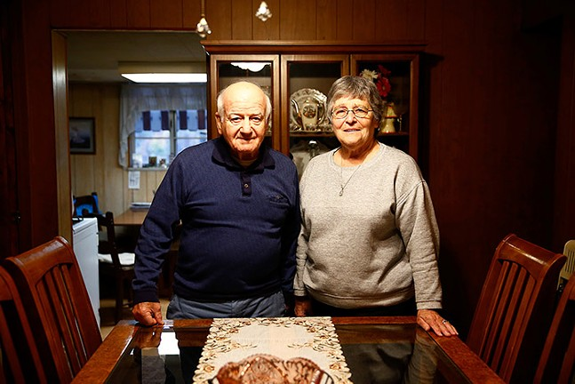 Joe and Dolores Marinello pose for a portrait in their dining room inside their Larimer home. - CP PHOTO: JARED WICKERHAM