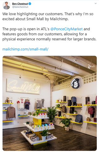 Screenshot of Small Mall announcement and image tweeted by Mailchimp CEO and co-founder, Ben Chestnut.