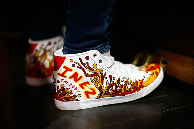 Custom shoes painted by Stew Frick - CP PHOTO: JARED WICKERHAM