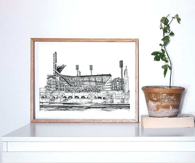 Hand-drawn illustration of PNC Park by Kirsten Lowe-Rebel of KloRebel, a vendor at Peoples Gas Holiday Market - KLOREBEL