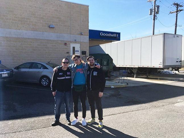 Josh Larkin, Toddy Tondera, and Ryan Thompson outside Goodwill Outlet Center. - CP PHOTO: AMANDA WALTZ