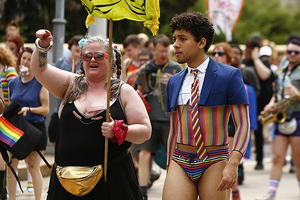 Jaboukie Young-White, of Comedy Central's Daily Show, marches with the People's Pride parade. - CP PHOTO: JARED WICKERHAM