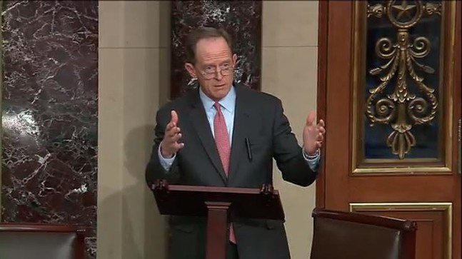 Pat Toomey speaking on Dec. 19 - SCREENSHOT TAKEN FROM C-SPAN