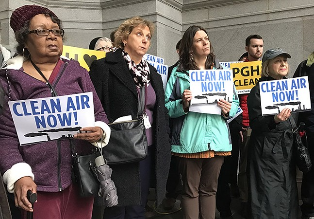 Air quality protesters at Pittsburgh City-County Building - CP PHOTO: RYAN DETO
