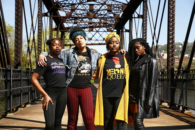 Artists and photographers, RaeStxx, Latrice Phoenix, Renzo, and Khadijat Yussuff pose for a portrait along the Three Rivers Heritage Trail. - CP PHOTO: JARED WICKERHAM