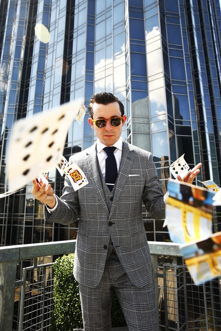 Magician Lee Terbosic, who performs both at Liberty Magic and his own residency at Hotel Monaco called 52 Up Close, poses for a portrait Downtown. - CP PHOTO: JARED WICKERHAM