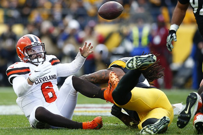 Baker Mayfield #6 of the Cleveland Browns fumbles the ball in front of Bud Dupree #48 of the Pittsburgh Steelers. - CP PHOTO: JARED WICKERHAM