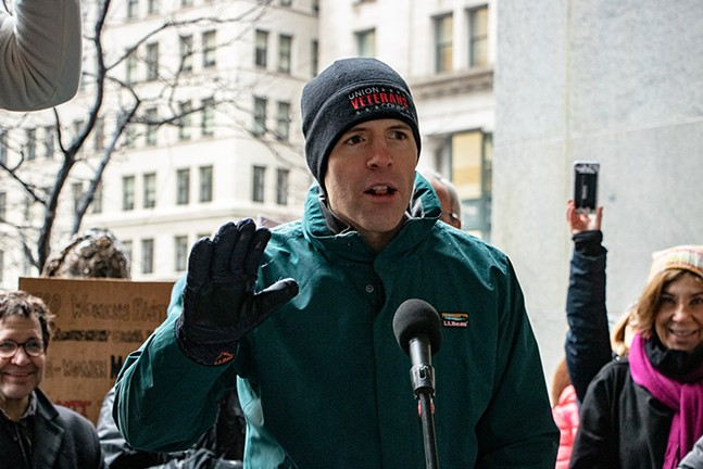 U.S. Rep. Conor Lamb addresses the crowd at the Women's March in Downtown Pittsburgh on Sat., Jan. 18, 2020 - CP PHOTO: MEGAN GLOECKLER