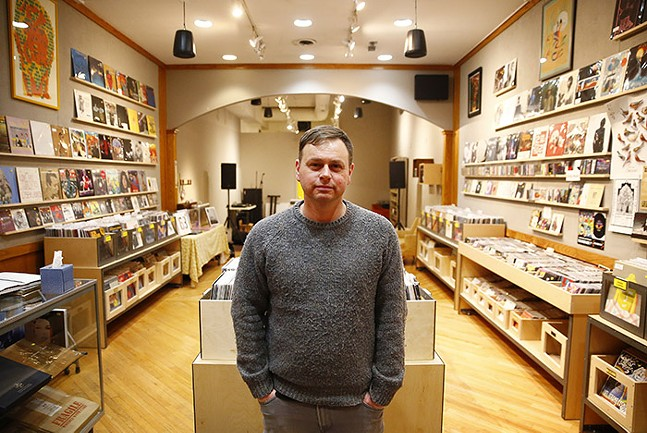 Josh Cozby, owner and record buyer for The Government Center - CP PHOTO: JARED WICKERHAM