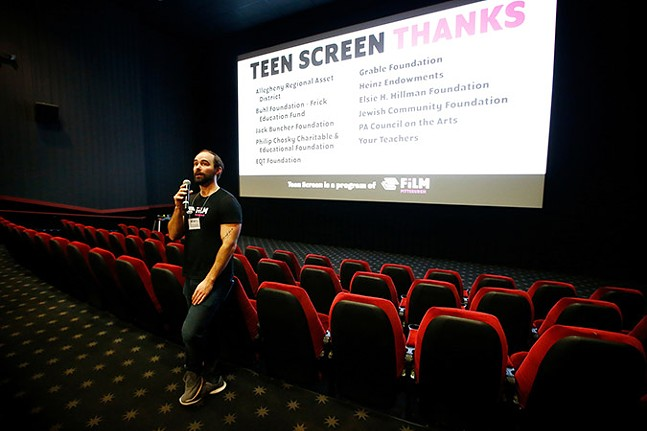Educator Drew Checkelsky talks to the students before a screening at the SouthSide Works Cinema as part of Teen Screen. - CP PHOTO: JARED WICKERHAM