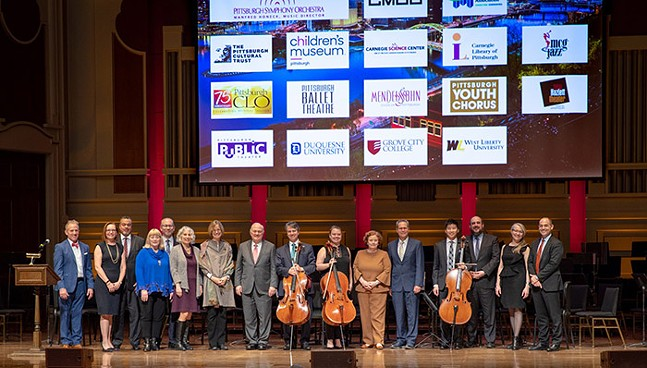 Pittsburgh art organizations join the stage during the PSO's 2020-21 season announcement at Heinz Hall - PITTSBURGH SYMPHONY ORCHESTRA
