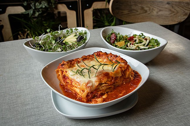 Sprezzatura's vegetarian lasagna with micro green and citrus fennel salads - CP PHOTO: MEGAN GLOECKLER