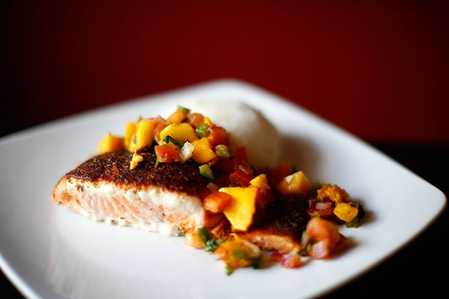 Grilled salmon with mango salsa from Zorros restaurant - CP PHOTO: JARED WICKERHAM