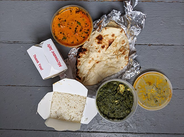 Cap: Chicken tikka masala and palak paneer from People's Indian - CP PHOTO: MAGGIE WEAVER