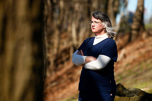 Michelle Boyle, an RN-BSN at Allegheny General Hospital, poses for a portrait in Highland Park. - CP PHOTO: JARED WICKERHAM