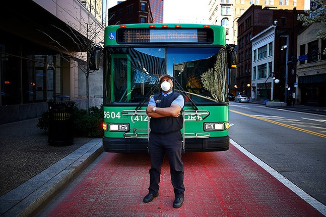 Sidney Davis, bus driver for Port Authority of Allegheny County, in Downtown Pittsburgh - CP PHOTO: JARED WICKERHAM