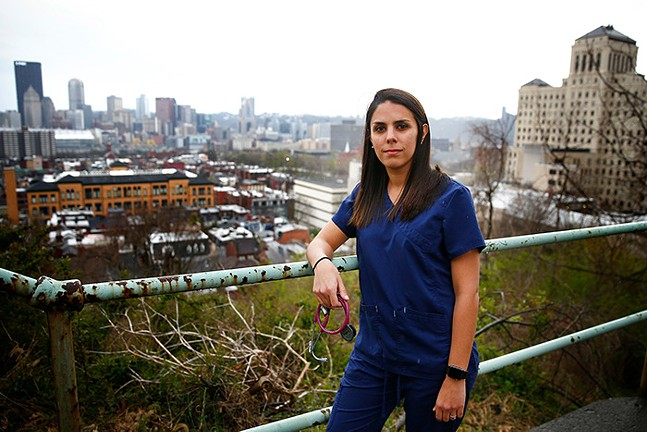 Angela Battaglia, registered nurse at Allegheny General Hospital in the North Side - CP PHOTO: JARED WICKERHAM