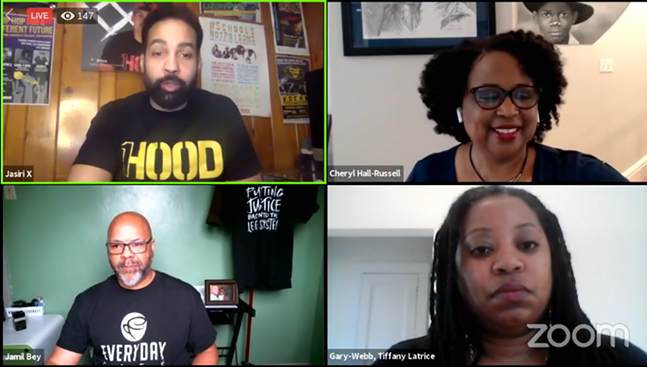 Jasiri X (top left), Cheryl Hall-Russell (top right), Jamil Bey (bottom left), and Tiffany Gary-Webb (bottom right) at the April 7 virtual town hall - SCREENSHOT FROM FACEBOOK