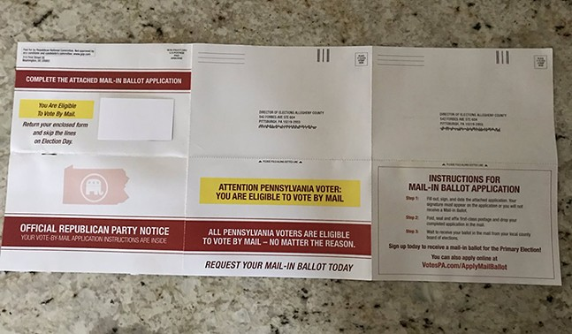 RNC mail-in ballot application - PHOTO: OBTAINED BY CITY PAPER