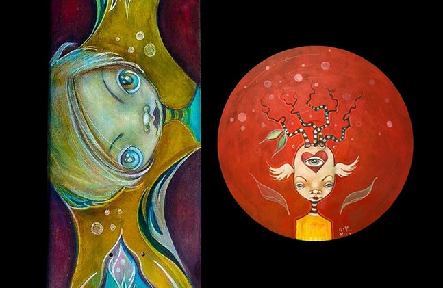 Skateboard deck and record art by Jen Colby for Redfishbowl virtual raffle. - JEN COLBY