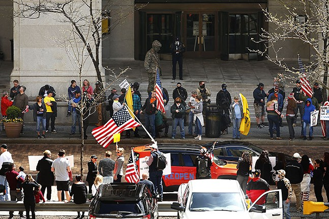 The 'Take Back Control' rally in Downtown Pittsburgh on Mon., April 20, 2020 - CP PHOTO: JARED WICKERHAM
