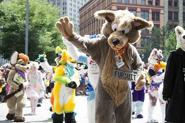 Furries during an Anthrocon parade in Downtown Pittsburgh - CP PHOTO: MIKE SCHWARTZ