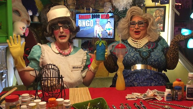 Mildred The Lunchlady (left) and Vera Lush - SCREENSHOT FROM MILDRED'S 4/20 BINGA