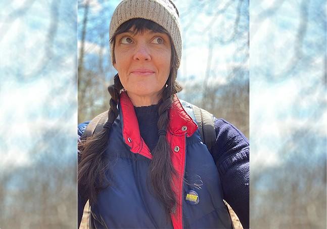 Maya Haptas at Frick Park taking her kids on some socially distant hiking - PHOTO: MAYA HAPTAS