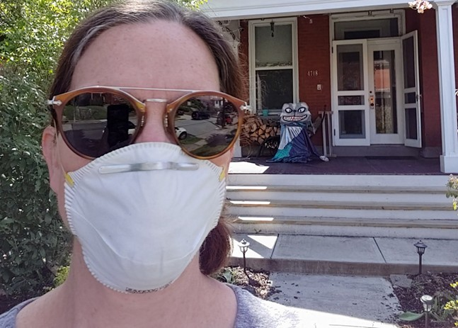 Cheryl Capezzuti makes a special porch delivery for Giant Puppet Dance Club. - CHERYL CAPEZZUTI