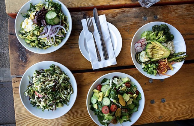 L-R: The Power Cobb, ABC, Perfect Garden, and Focus salads from Cafe liminal - PHOTO: CAFE LIMINAL