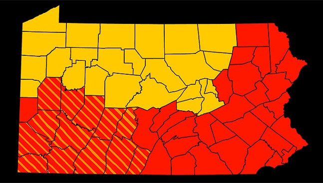 13 Southwestern Pennsylvania counties in stripes will move from red to yellow phase on May 15.