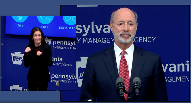 SCREENSHOT FROM GOVERNOR TOM WOLF'S ADDRESS