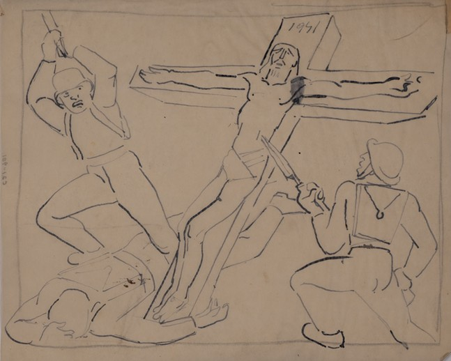 "Study sketch for the mural ""Christ on the Battlefield"" from the Vanka Collection. - SOCIETY TO PRESERVE THE MILLVALE MURALS OF MAXO VANKA"