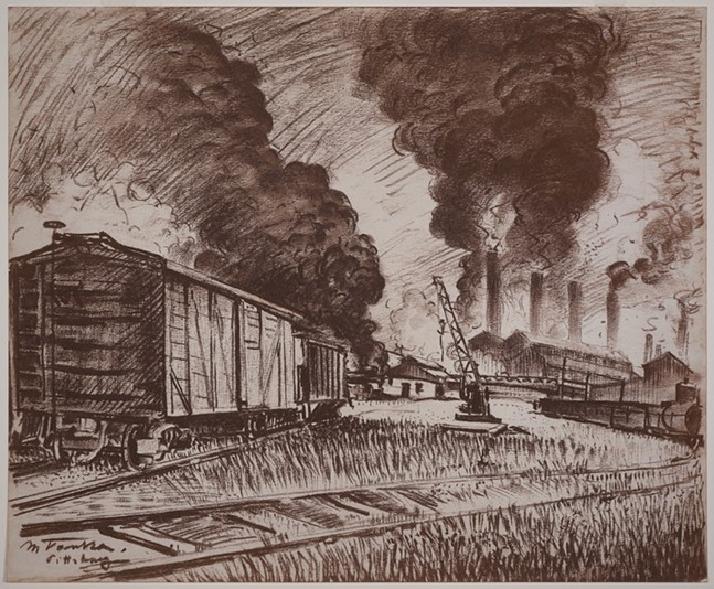 Pittsburgh factory scene from the Vanka Collection. - SOCIETY TO PRESERVE THE MILLVALE MURALS OF MAXO VANKA