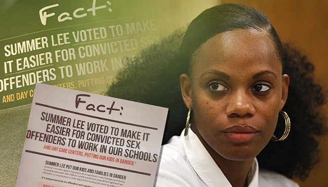 State Rep. Summer Lee, with controversial mailers sent out by challenger Chris Roland - CP PHOTO: JARED WICKERHAM