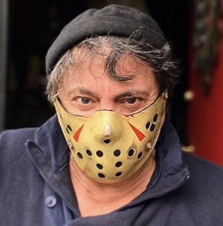 Tom Savini models a Friday the 13th-inspired PPE mask by him and Jason Baker - PHOTO: TOM SAVINI
