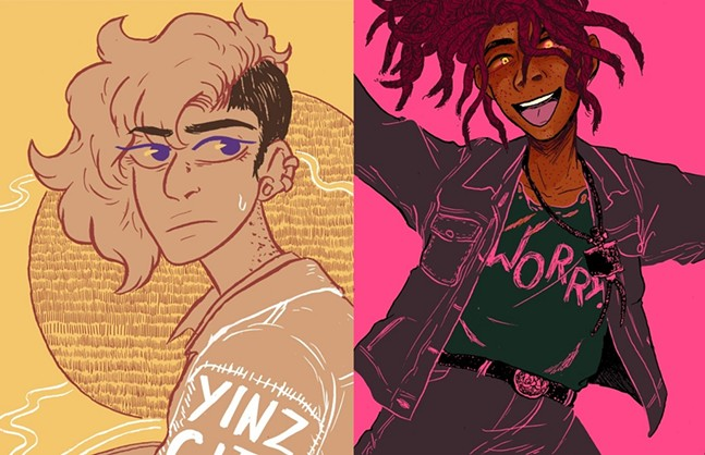 Yinz City #1 cover (left) and character illustration (right) - HIGU ROSE