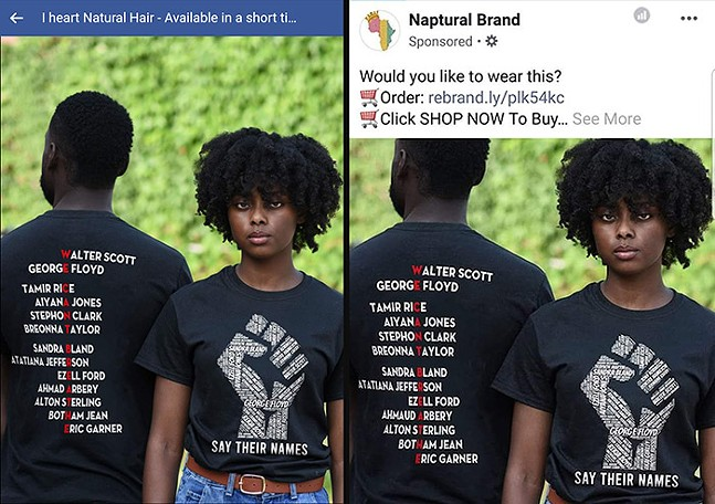 Screenshots from Facebook business pages that ripped off Moya Omololu's T-shirt design and Photoshopped them onto Sarah Bader's original photograph - ORIGINAL PHOTO ©SARAH BADER