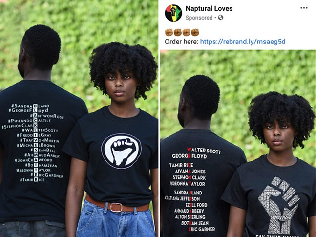 Sarah Bader's original photograph and Moya Omololu's original T-shirt design on the left, and Naptural Love's Photoshopped image on the right - ©ORIGINAL PHOTOGRAPH BY SARAH BADER