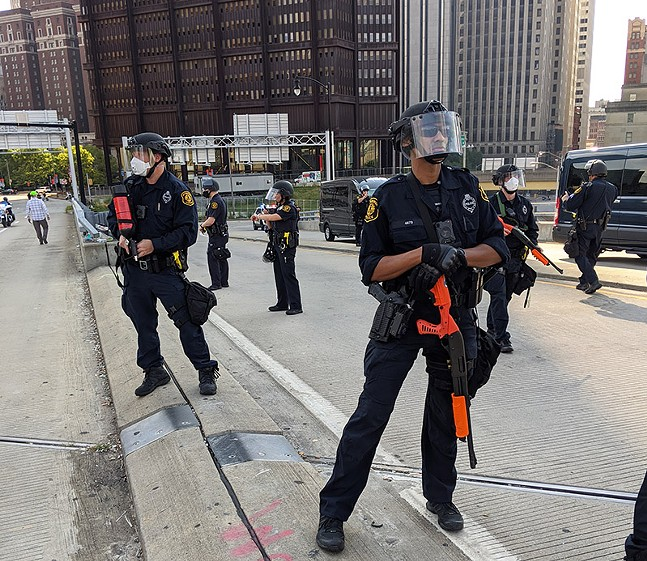 Pittsburgh police at Project Matters' Black Lives Matter protest on Fri., July 3, 2020 - PHOTO SHARED WITH CITY PAPER BY ANONYMOUS SOURCE ON SCENE OF TODAY'S PROTEST