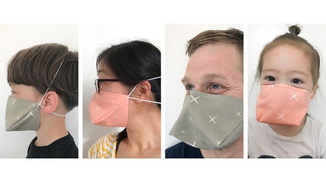 Otto, Rona, Ross, and Etta wearing the duckbill-style mask - PHOTOS: RONA CHANG