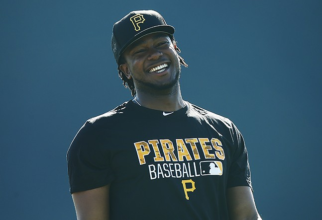 Josh Bell of the Pittsburgh Pirates during spring training at Pirate City in Bradenton, Florida on Feb. 20, 2016 - CP PHOTO: JARED WICKERHAM