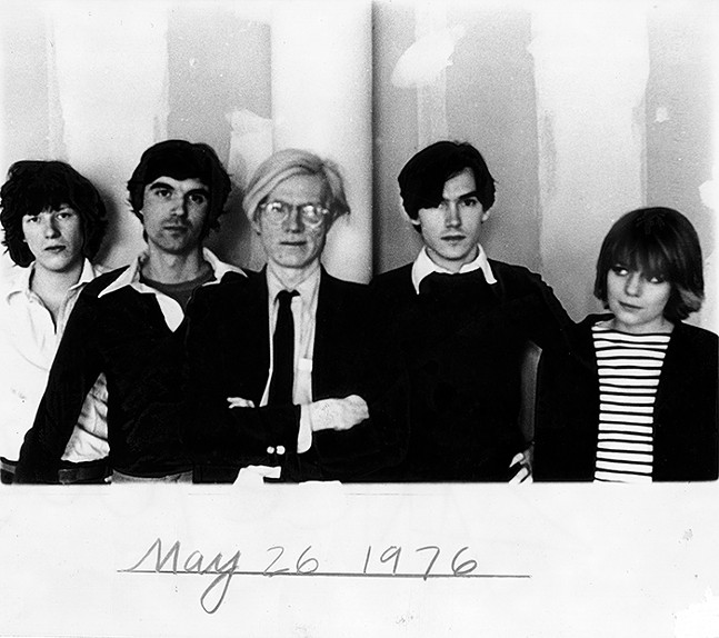 Chris Frantz and Talking Heads with Andy Warhol in 1976 - FROM CHRIS FRANTZ'S REMAIN IN LOVE