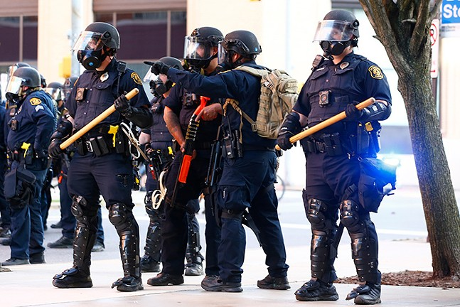 Pittsburgh Police in riot gear on June 1 in East Liberty - CP PHOTO: JARED WICKERHAM