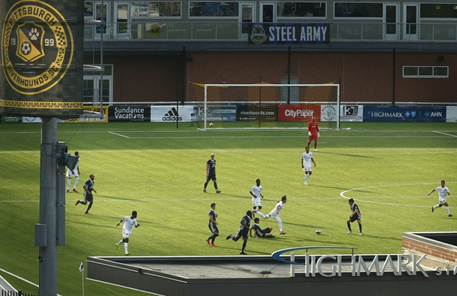 The sun begins to set during the second half action between the Pittsburgh Riverhounds and Indy Eleven. - CP PHOTO: JARED WICKERHAM