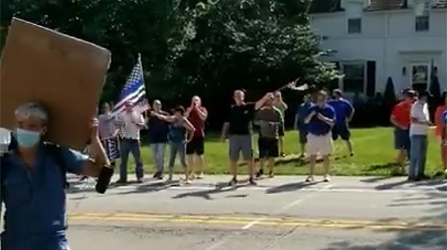Pro-police protesters next to Mt. Royal Boulevard in Shaler - SCREENSHOT TAKEN FROM VIDEO