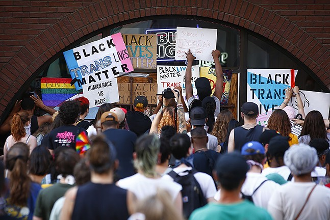 Pittsburgh Action for Black Trans and LGBQIA+ Lives held a protest in front of 941 Saloon due to what is perceived as racist dress codes on Liberty Avenue in Downtown on Wed., June 24. - CP PHOTO: JARED WICKERHAM