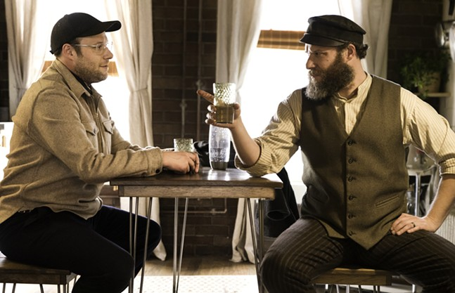 Two Seth Rogens drinking seltzer, as Jews do. - PHOTO: HOPPER STONE/HBO MAX