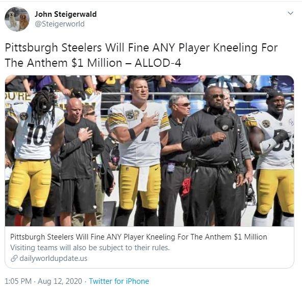 Pittsburgh talk radio host John Steigerwald sharing the fake story - SCREENSHOT TAKEN FROM TWITTER