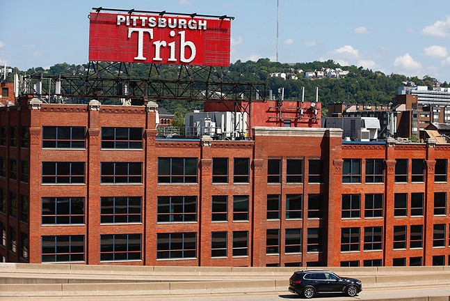 The Pittsburgh Trib sign on the North Side - CP PHOTO: JARED WICKERHAM